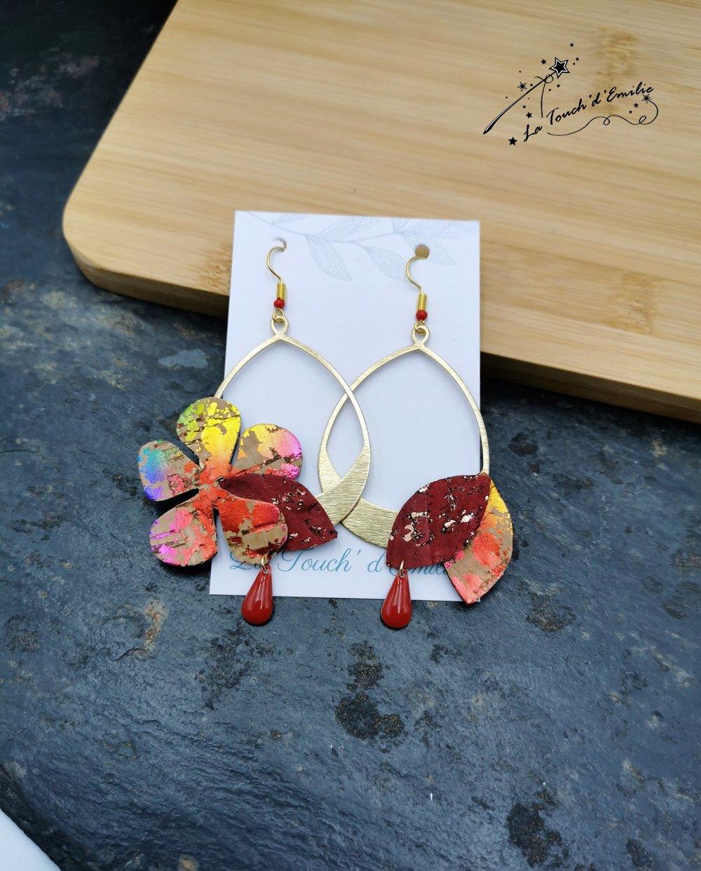 Boucles Hibiscus Décalées Rouge Punchy--2226184202339