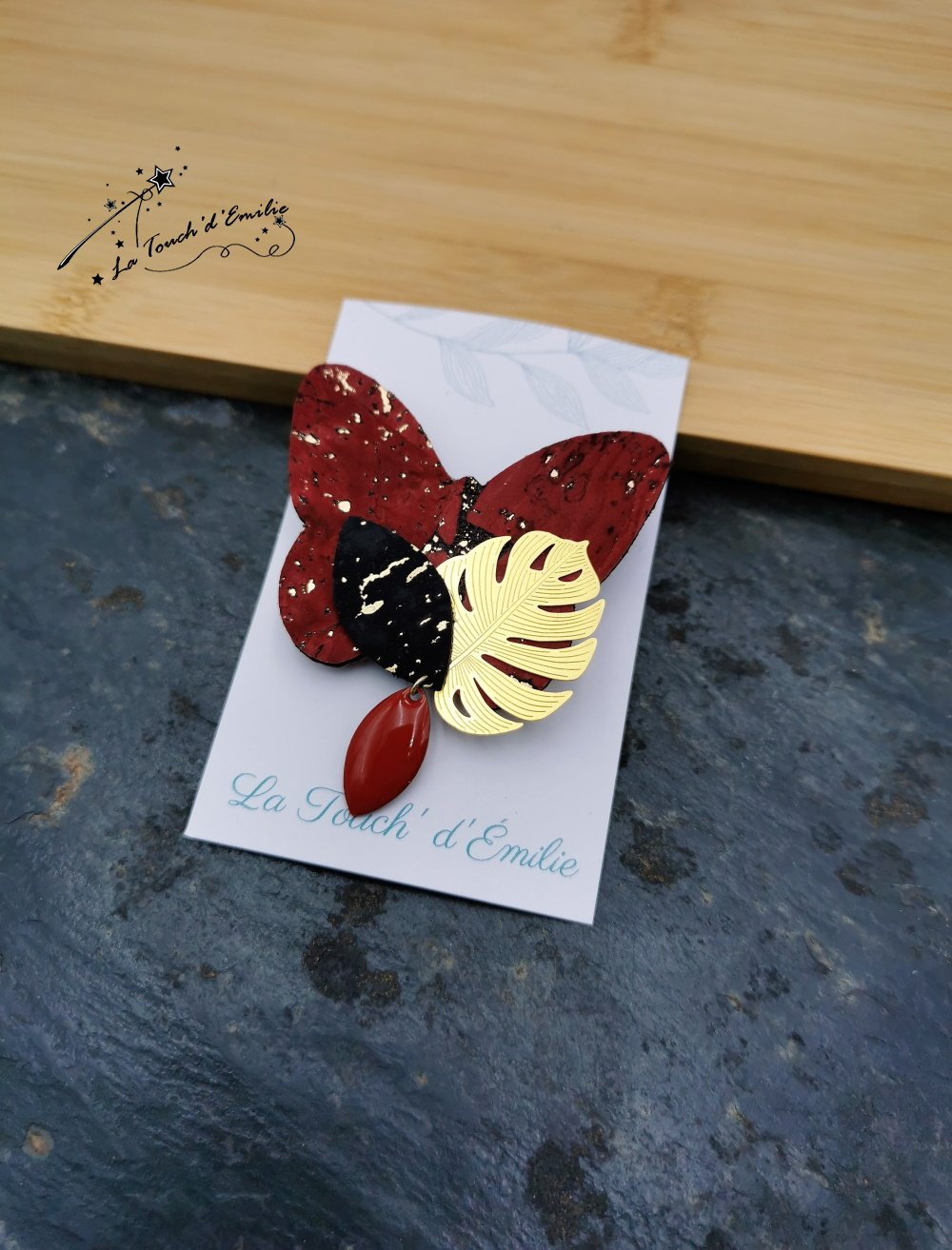 Broche Papillon Rouge Luxe--2226196039848