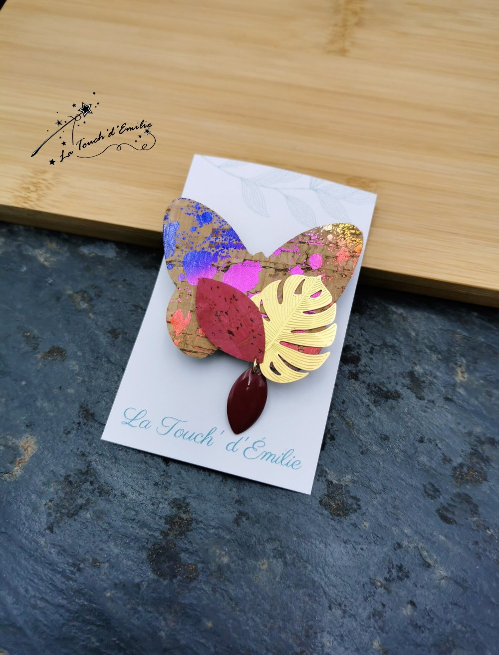 Broche Papillon Punchy Rose--2226196040882