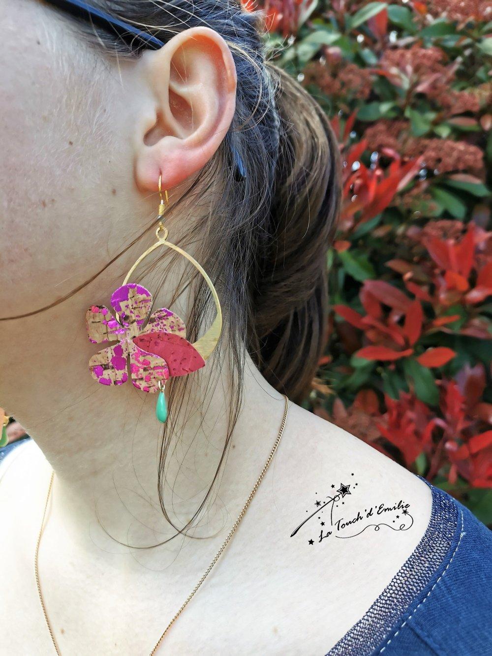 Boucles Hibiscus Décalées Rose Punchy--9996184188300
