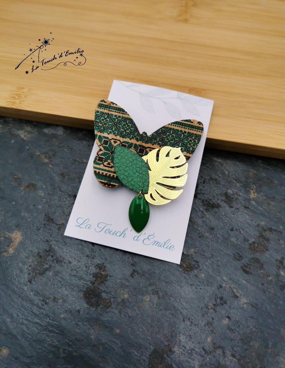 Broche Papillon Vert Aztèque--2226196040417