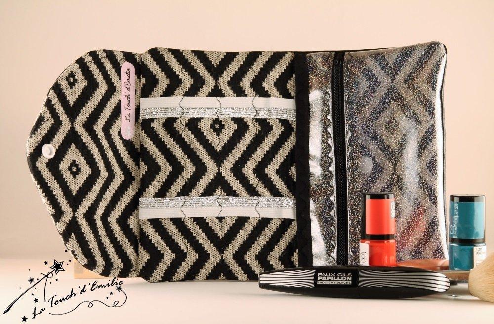 La Trousse à Manucure et Maquillage Jacquard Noir--2225165555051