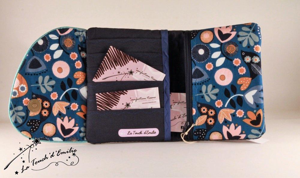 Le combi cartes-monnaie Velours Bleu Floral--2225395953177