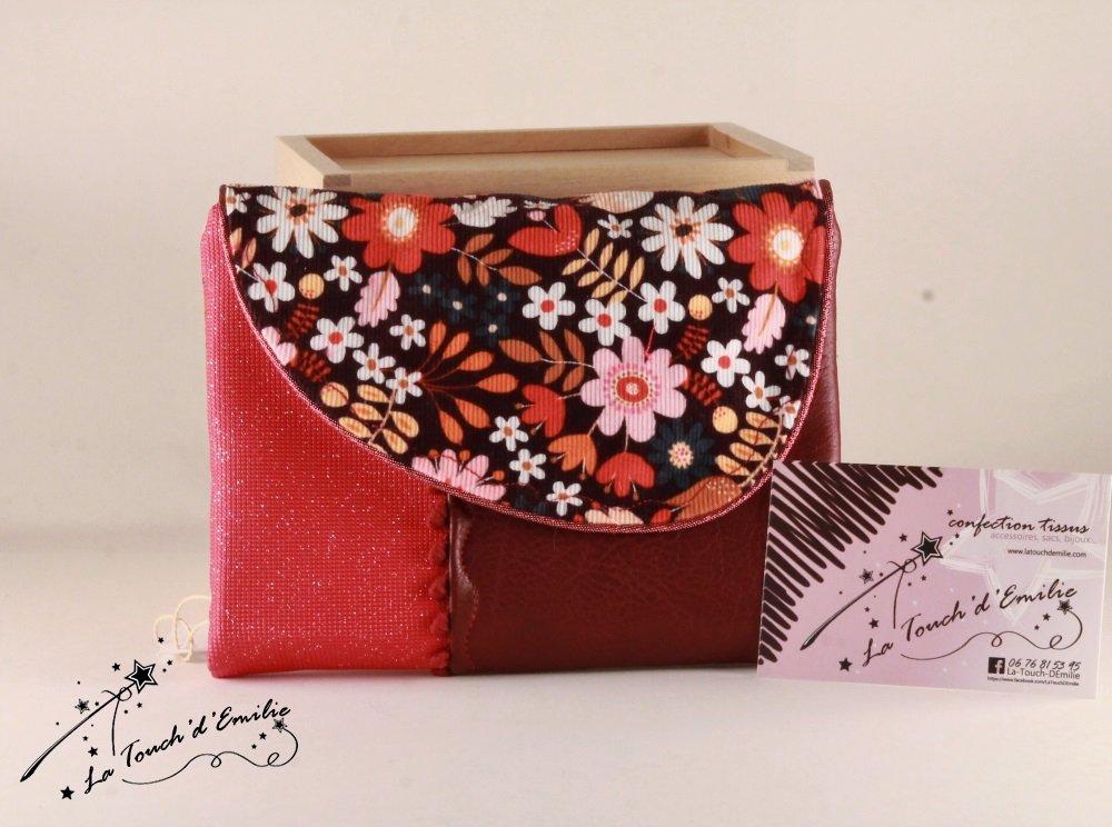 Le combi cartes-monnaie Velours Floral Rouge--2225395945554