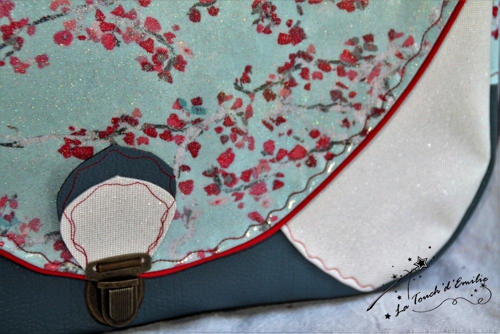 Le Sac Nouvelle Vague La Touch' D'Emilie branches de cerisiers simili luxe gris.--2224815619280