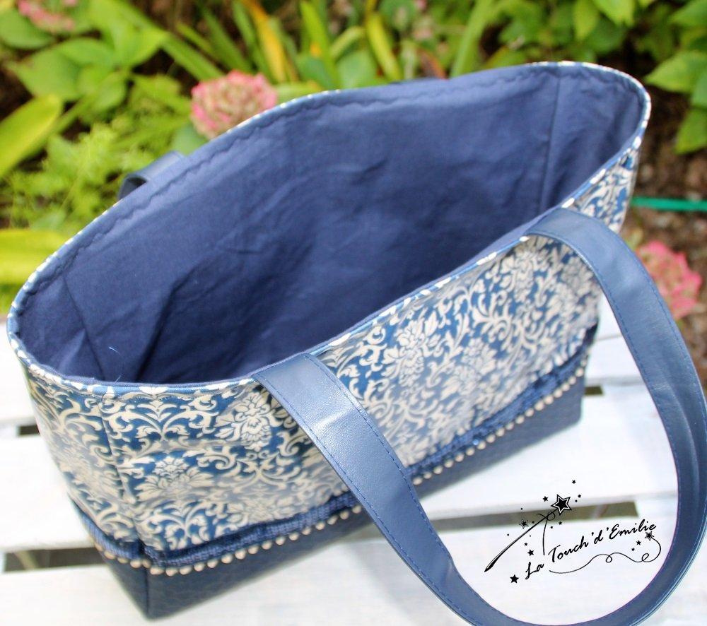 Le Sac 'Panier' Bleu Baroque--9995066609889