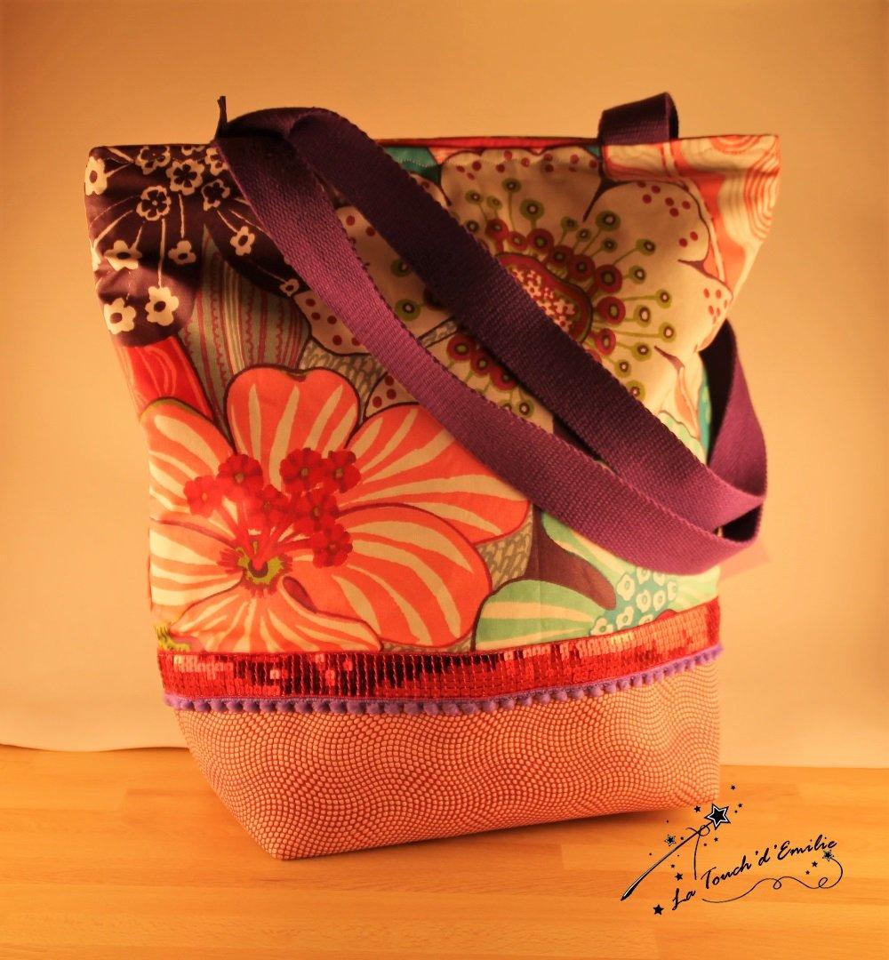 Mon Tote Chic Fusion Rose et Enduit mat grandes fleurs colorées.--2225019598623