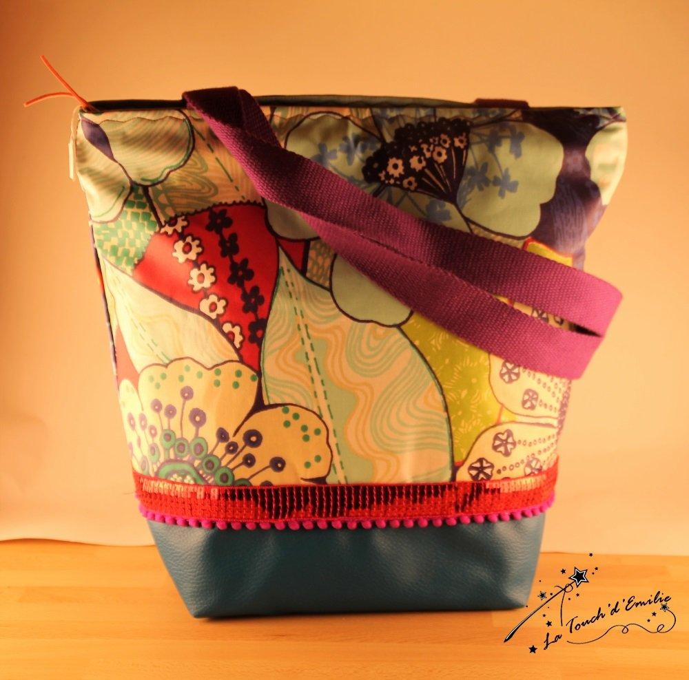 Mon Tote Chic 'Simili Bleu Canard et Enduit mat grandes fleurs fond bleu'--2225019606304