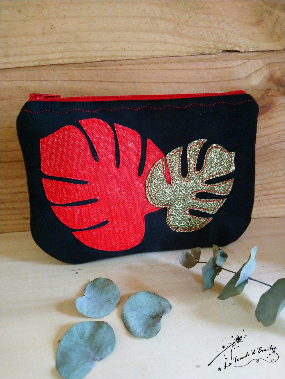 Pochette Monstera Rouge et Noir--2225881914750
