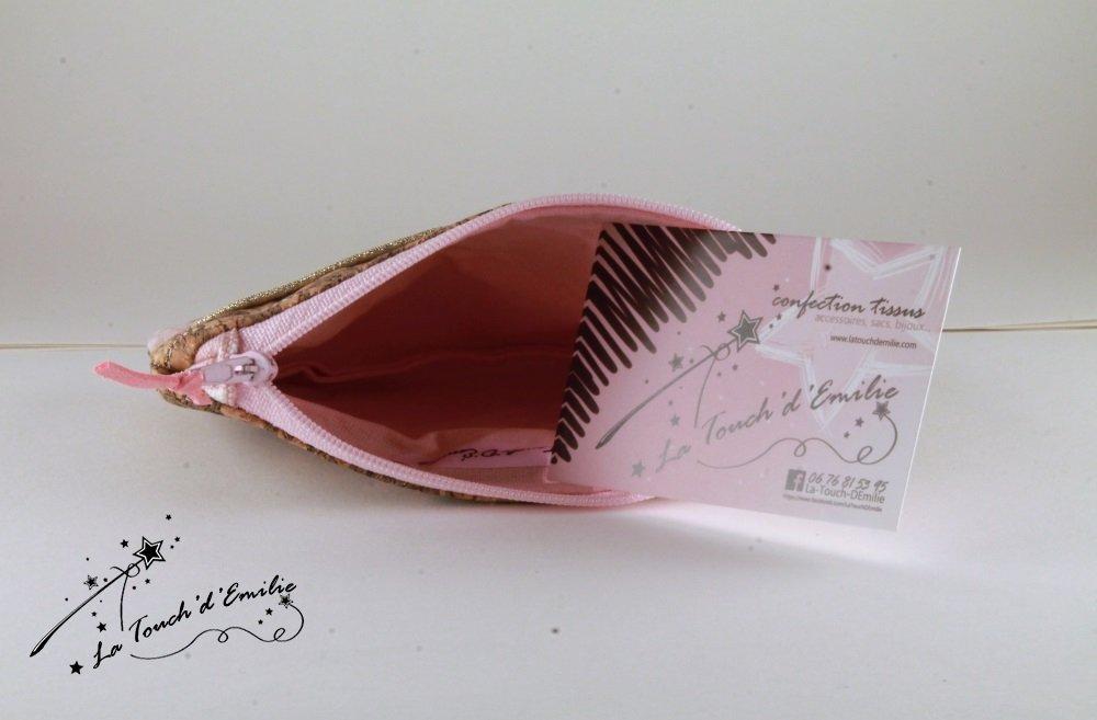 Pochette Monnaie -Cartes Rose Poudré Soleil Doré--2225563770858