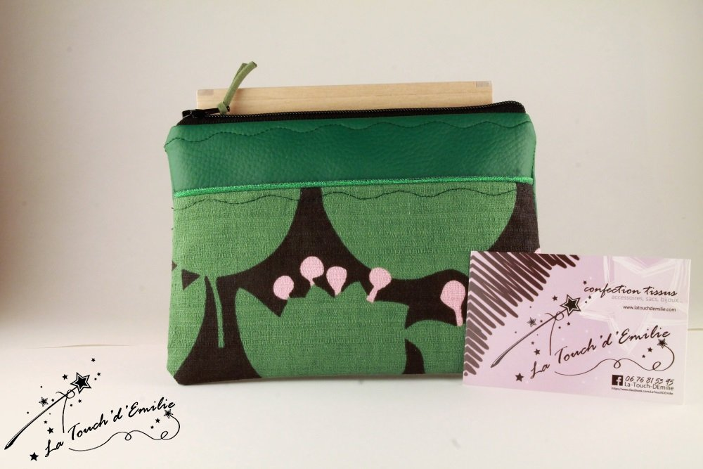 Pochette Monnaie -Cartes Vert Vintage Karia--2225501814453