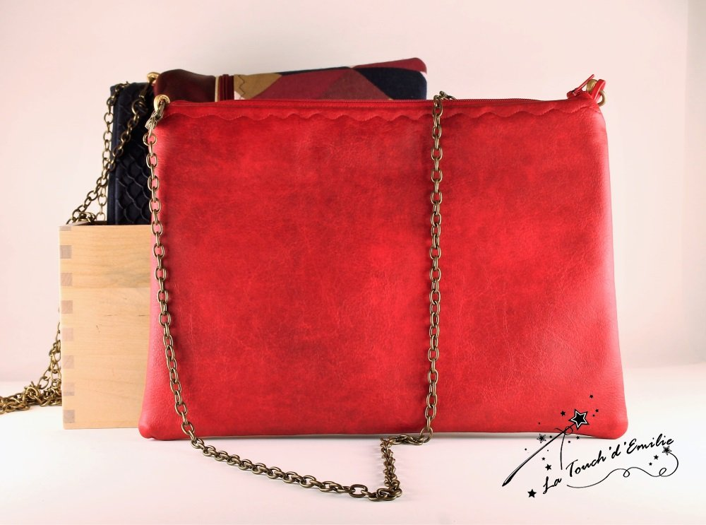 Pochette de Soirée Rouge Floral--2225156040696