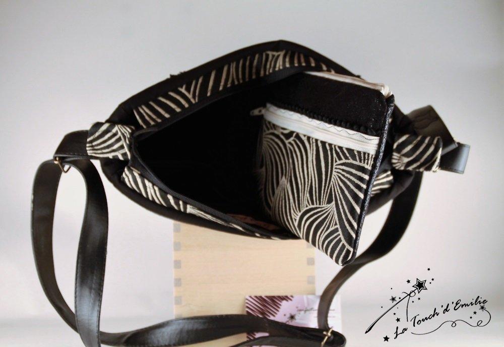 Sac Besace 'Bermudes' Jungle Chic Black and White--2225415332227