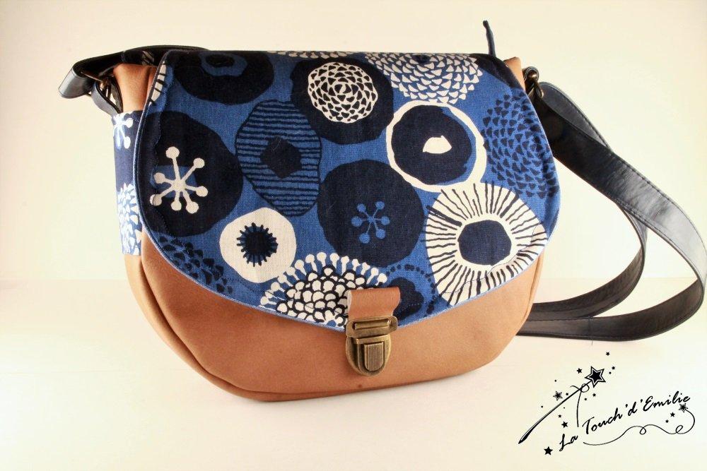 Sac Besace Cartable Camel Bleu Floral--2225583795619