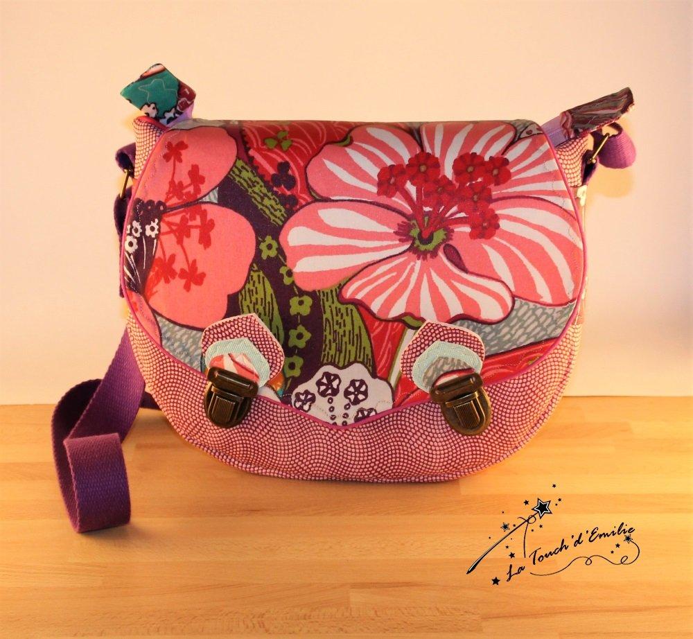 Sac Besace La Touch' D'Emilie Fusion rose et Enduit floral--2224942584031
