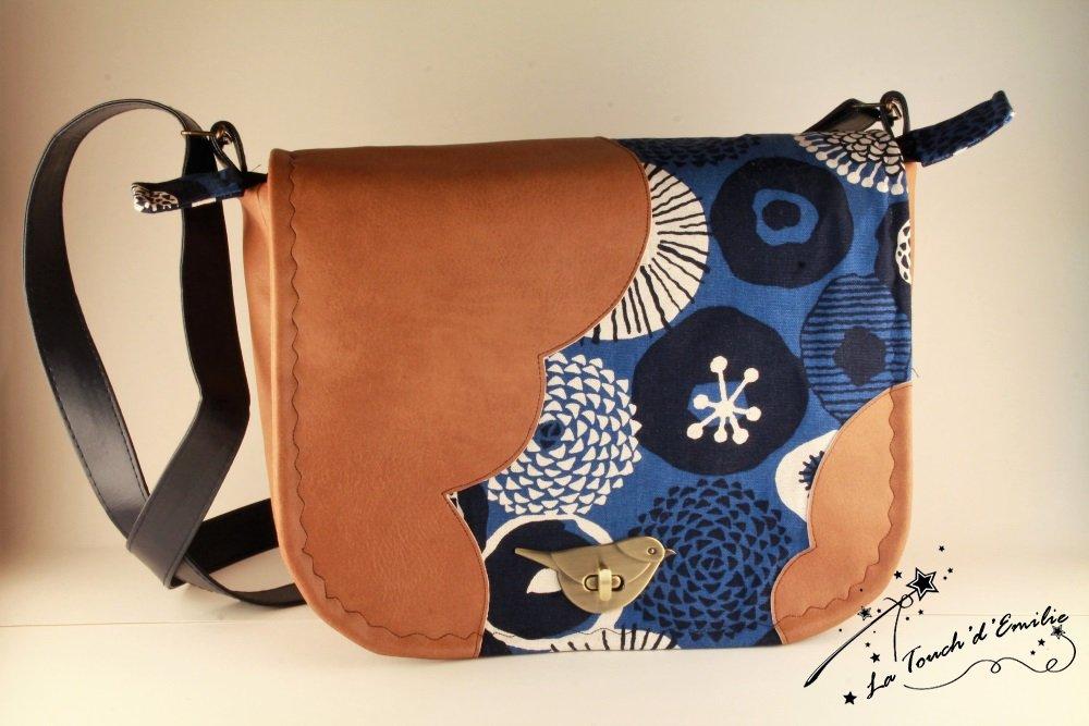 Sac Nuage Oiseau Camel Bleu Floral--2225532738384
