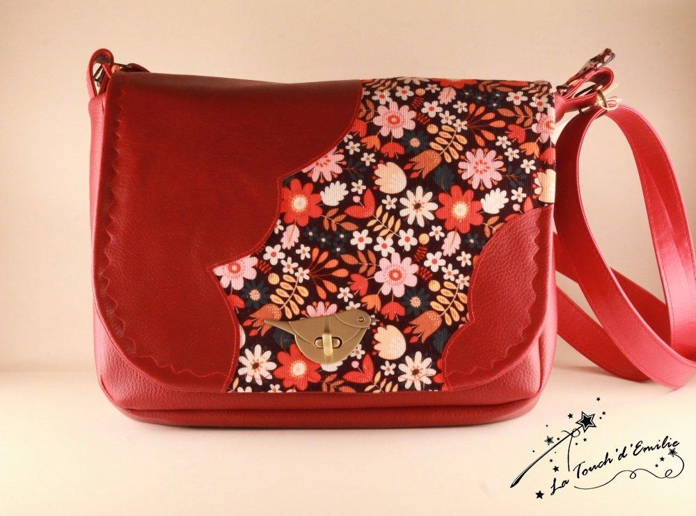 Sac Nuage Oiseau Velours Floral Rouge--2225401325899
