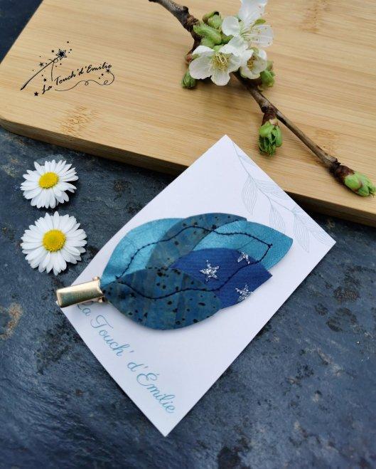 Barrette Plume 'Bleu Céleste'