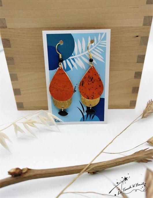 Boucles Goutte Eventail Orange