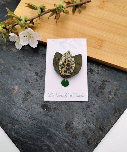Broche Lotus Vert Aztèque