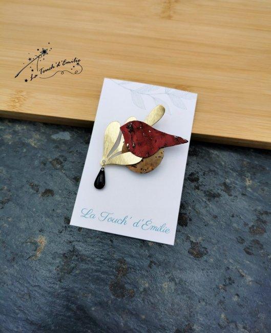 Broche Oiseau Rouge luxe