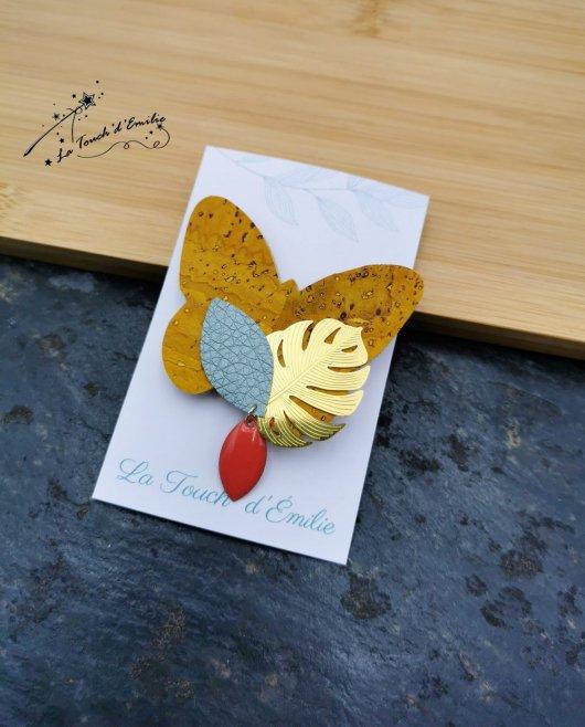 Broche Papillon Soleil Bleu