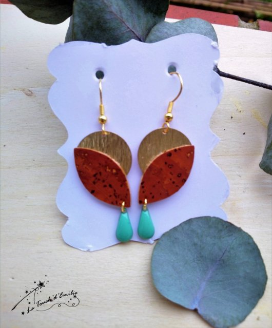 Boucles Aube Luxe Camel Turquoise