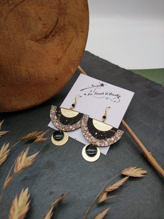 Boucles Demi Lune Luxe Noir et bronze