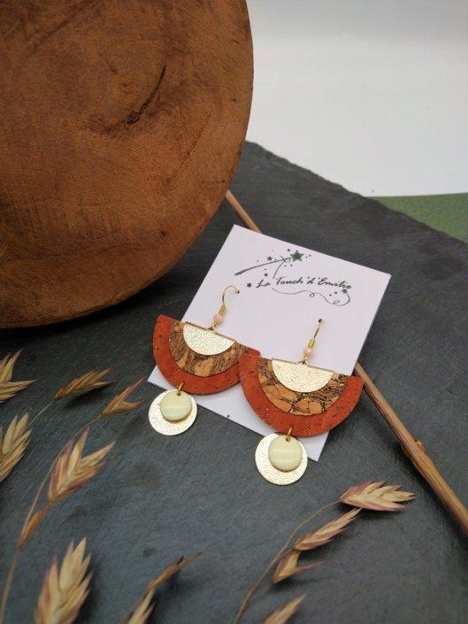 Boucles Demi Lune Luxe Camel et Bronze