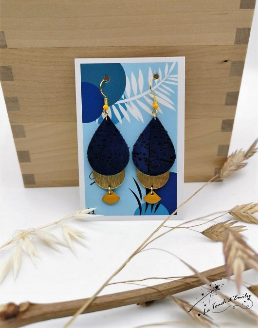 Boucles Goutte Eventail Bleu Citron