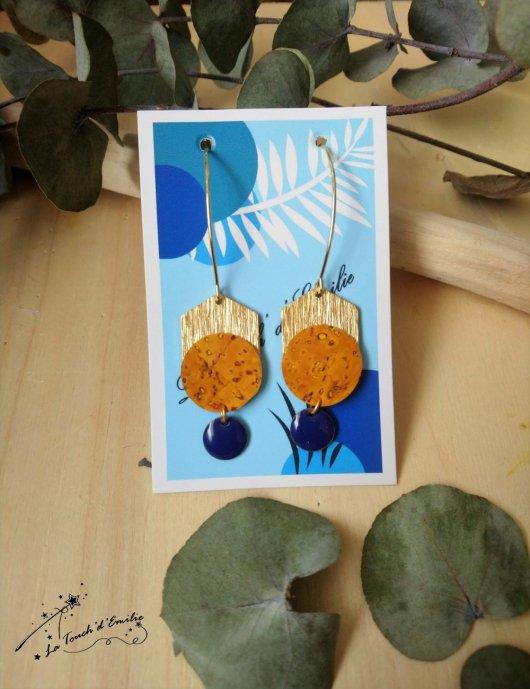 Boucles Longues Hexa Luxe Soleil Bleu