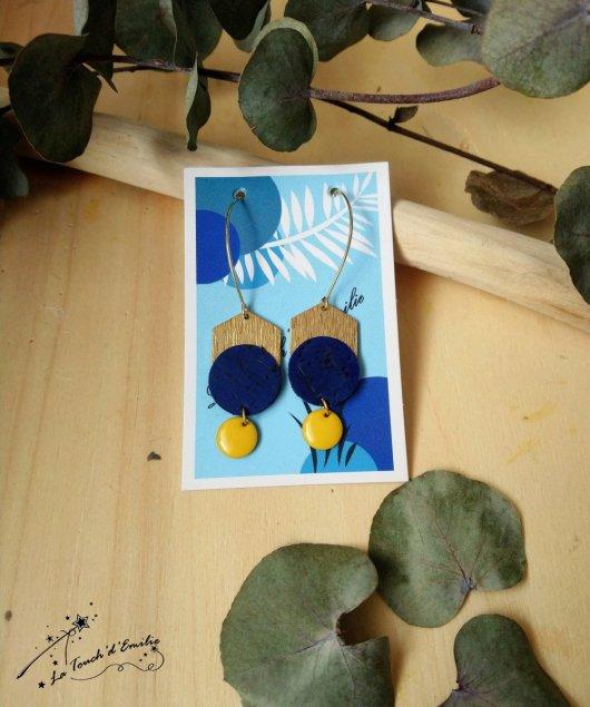 Boucles Longues Hexa Luxe Bleu Citron
