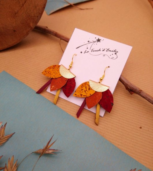 Boucles Lotus Camel Jaune Rouge