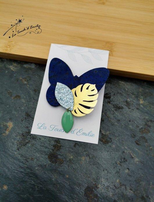 Broche Papillon Bleu Céleste