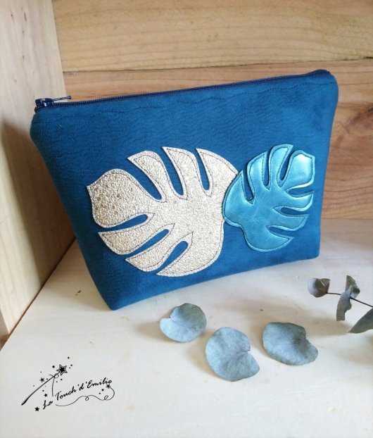 Trousse Maquillage Monstera Bleu Or