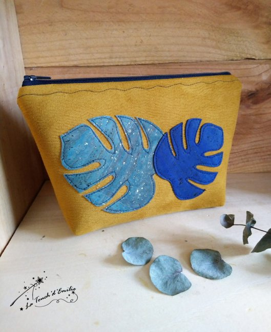 Trousse Maquillage Monstera Bleu Citron