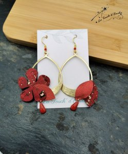Boucles Hibiscus Décalées Rouge Luxe