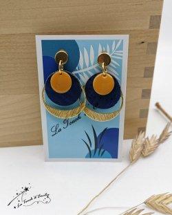 Boucles Puces 'Cercle'  Bleu citron