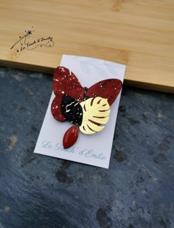 Broche Papillon Rouge Luxe
