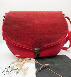 Sac Besace Cartable Liège Rouge Intense